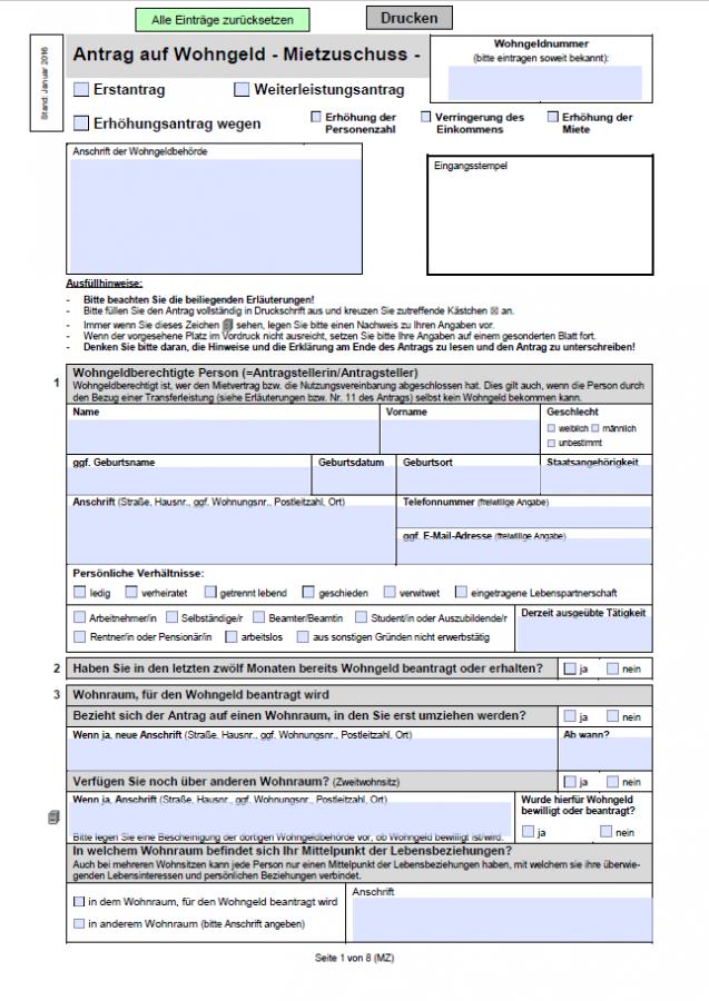 formular wohngeld u njemačkoj